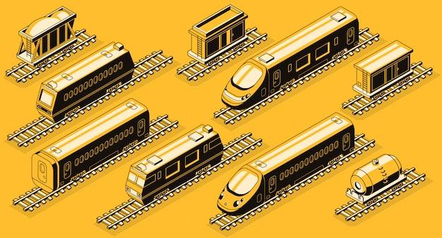Transporte ferroviário, trem elementos isométricos definido.