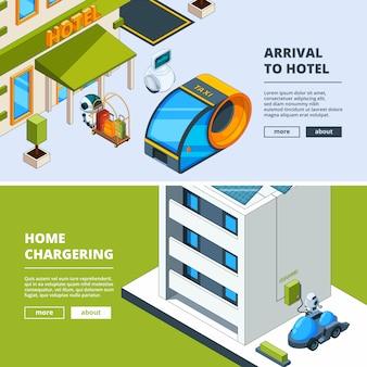 Transporte futurista e robôs. modelo de banners com cidade isométrica baixo poli do futuro