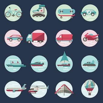 Transporte, ícones, redondo, jogo