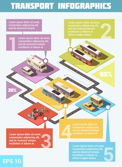 Transporte infográfico conjunto com meios de transporte