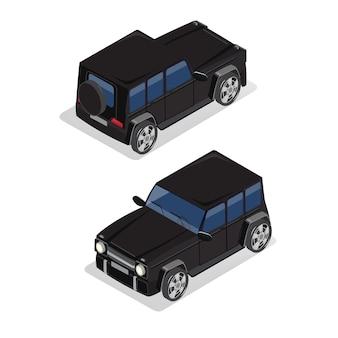 Transporte isométrico. carro offroad. carro isométrico.