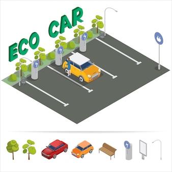 Transporte isométrico de carro ecológico