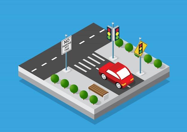 Transporte isométrico de carros e caminhões
