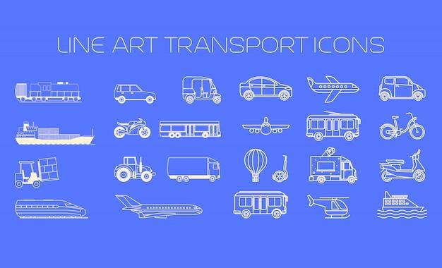 Transporte, linha, ícones, grande, jogo