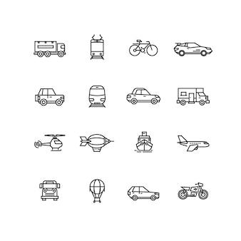 Transporte, linha, ícones, vetorial, jogo