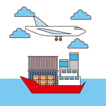 Transporte logístico de avião e caixas e contentores para navios