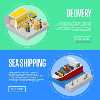 Transporte marítimo global e serviço de entrega banner web conjunto