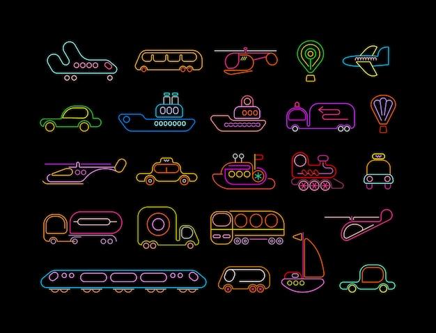 Transporte, néon, ícones