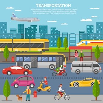 Transporte no cartaz da cidade