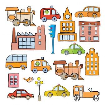 Transporte no estilo dos desenhos animados