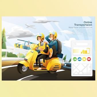 Transporte on-line, andar de bicicleta na estrada com carro com fundo do céu