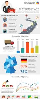 Transporte ou estatísticas conceito infográfico conjunto de gráficos
