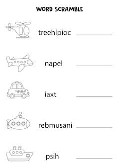 Transporte palavra scramble para crianças. classifique as letras na ordem correta. folha de trabalho para crianças.