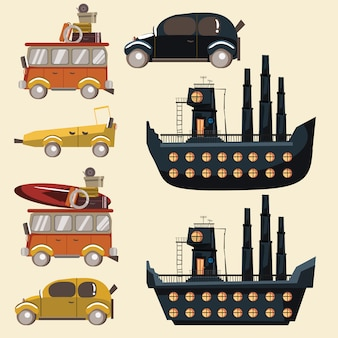Transporte para ilustração vetorial conjunto de viagens