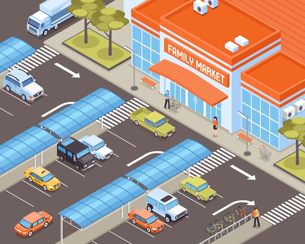 Transporte pessoal na zona de estacionamento perto de ilustração isométrica de construção de mercado