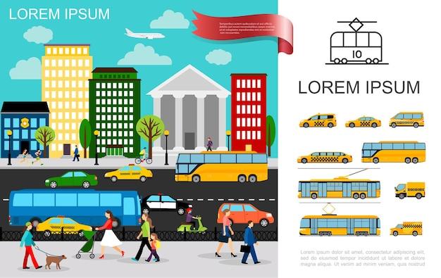 Transporte plano no conceito de cidade com veículos se movendo na estrada e carros de táxi ônibus caminhão van trólebus bonde