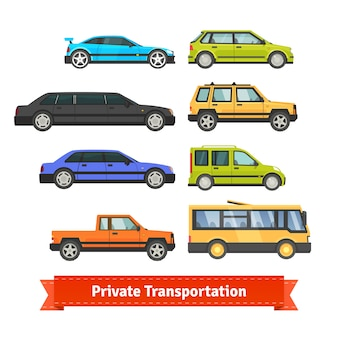 Transporte privado. vários carros e veículos