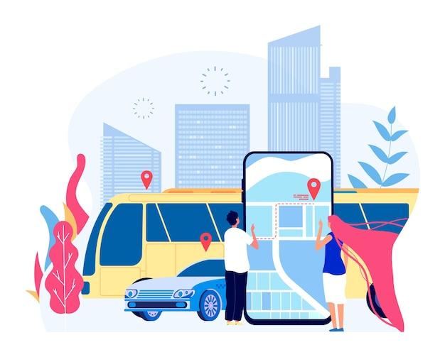 Transporte público da cidade. pessoas e táxi de veículo de ônibus urbano com paisagem urbana e mapa de aplicativo móvel. turismo e transporte