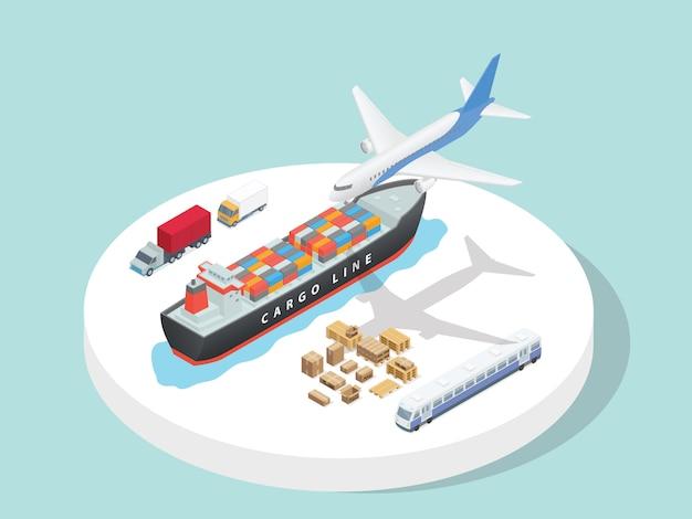 Transporte serviço terceirizado logística avião navio caminhão trem com estilo 3d isométrico dos desenhos animados