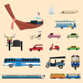 Transporte tailandês com triciclo, motocicleta, táxi, mini ônibus e barco