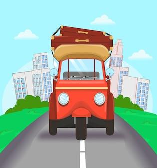 Transporte tradicional de viagens na cidade