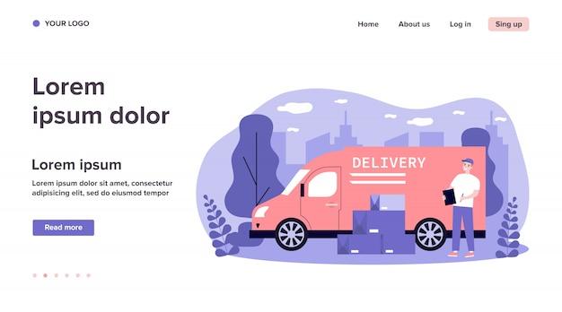 Transporte, transporte, entrega, conceito de carga