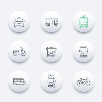 Transporte urbano, bonde, trem, ônibus, bicicleta, táxi, trólebus, ícones modernos redondos de linha, ilustração vetorial