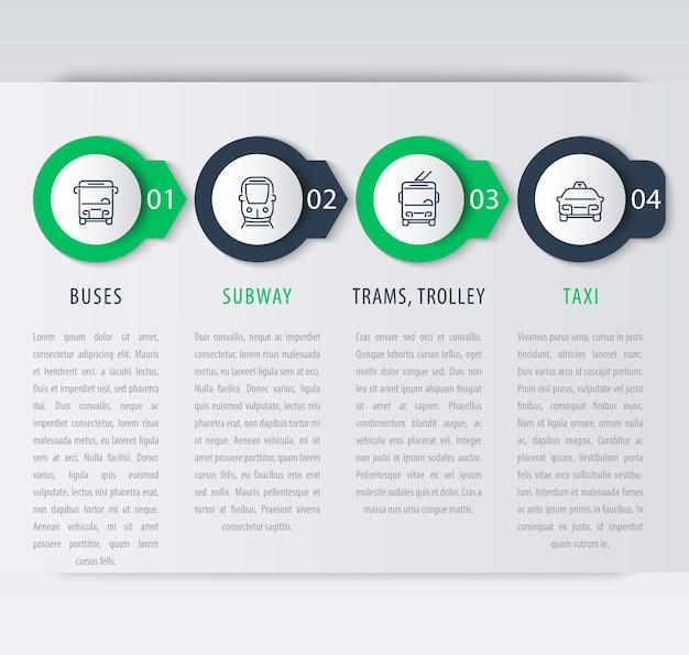 Transporte urbano, elementos de infográfico, rótulos de etapas, ícones, ilustração vetorial