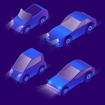 Transporte urbano isométrico 3d com faróis