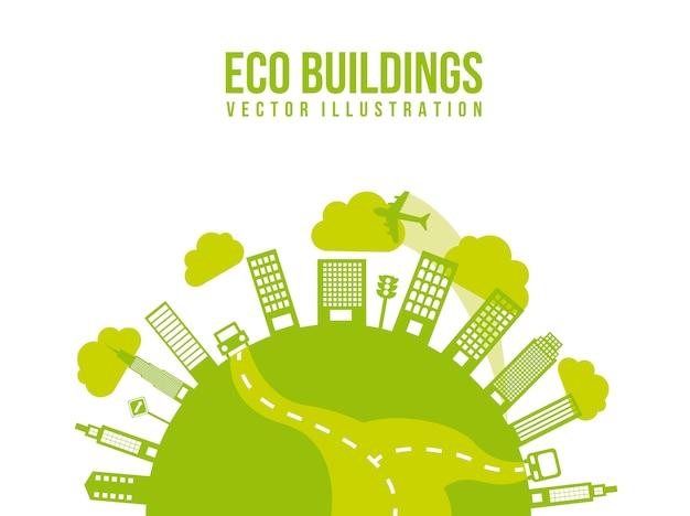 Transporte verde e cidade eco edifícios vector illutration
