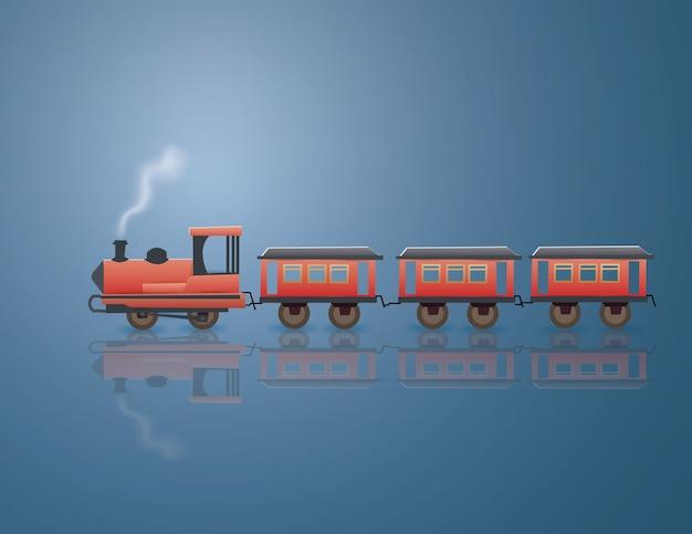 Transporte vintage no fundo azul