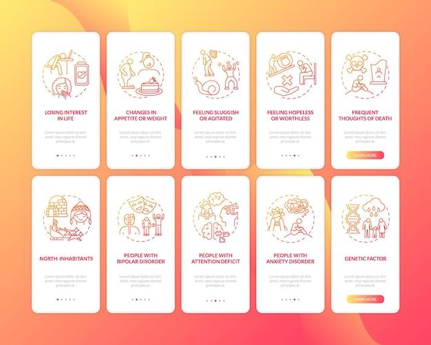 Transtorno afetivo sazonal indica tela de página de aplicativo para dispositivos móveis com conceitos definidos