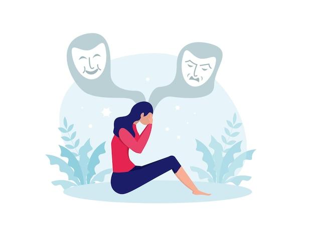 Transtorno bipolar, mulher sofre de alterações hormonais com alteração do humor. ilustração vetorial de saúde mental