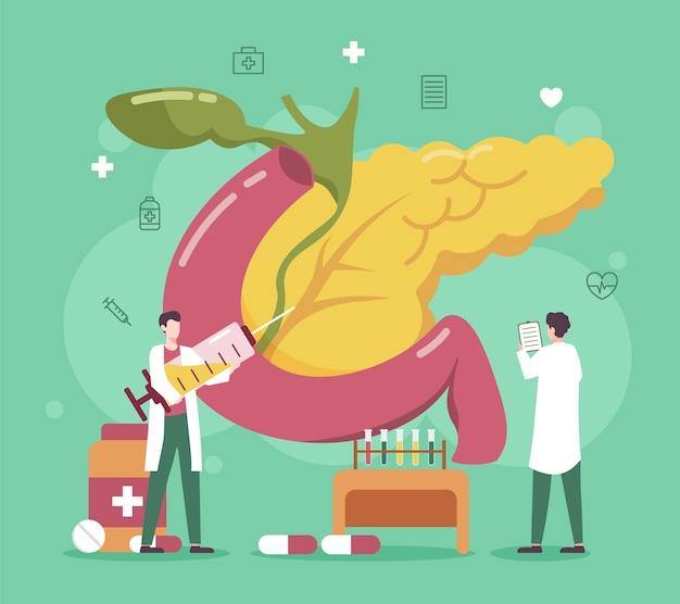 Tratamento da doença do pâncreas com ilustração médica