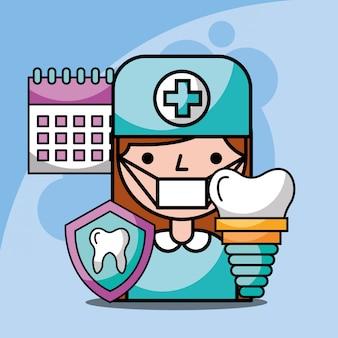 Tratamento de calendário de implante dentário menina dentista