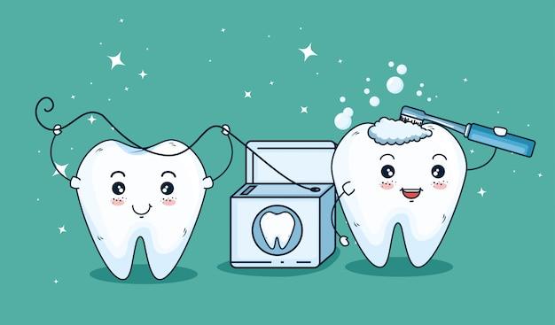 Tratamento de dentes com escova de dentes e fio dental