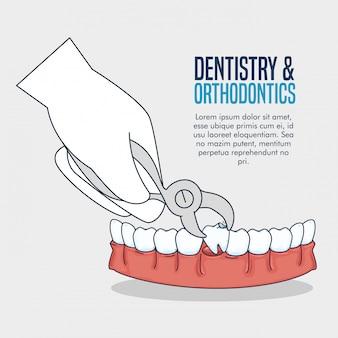Tratamento de dentes com extrator dentário