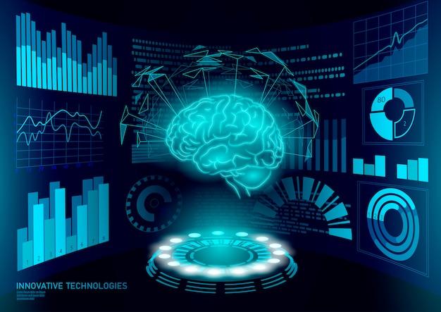 Tratamento de diagnóstico cerebral baixo poli 3d hud. exibição inteligente de estimulante nootrópico de drogas. reabilitação cognitiva de medicina na doença de alzheimer e demência médico ilustração on-line