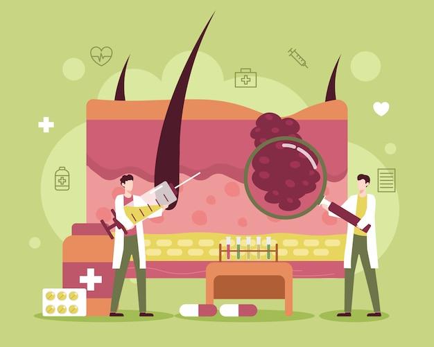 Tratamento de doenças de pele com ilustração médica