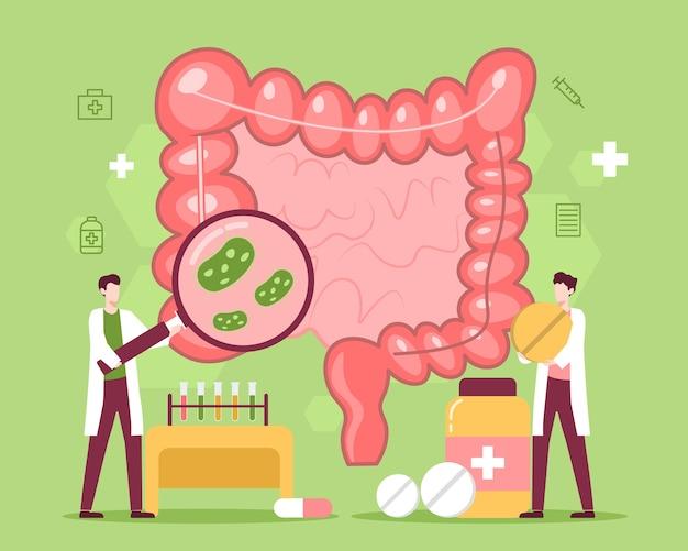 Tratamento de doenças intestinais com medicamentos e ilustrações médicas