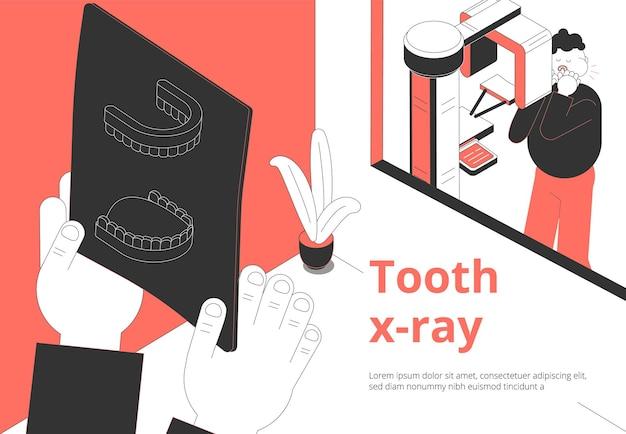 Tratamento de dor de dente em clínica odontológica e diagnóstico de composição isométrica com paciente esperando resultado de exame de imagem de raio-x