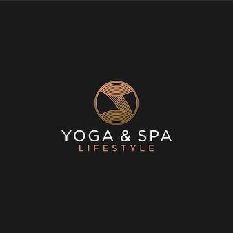 Tratamento de logotipo de ioga spa de massagem, luxo feminino tradicional alternativa médica
