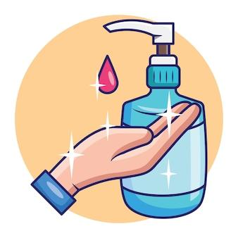 Tratamento de mão doce com design de conceito de desinfetante de mãos de gel antibacteriano. vetor premium