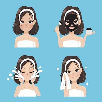 Tratamento de máscaras para mulheres.