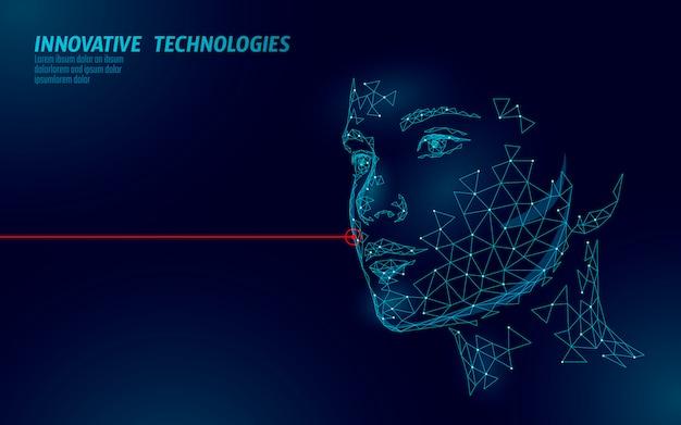 Tratamento de pele a laser de rosto humano feminino de baixo poli. procedimento de rejuvenescimento de salão de beleza. tecnologia de inovação clínica medicina cosmetologia. ilustração 3d de renderização poligonal