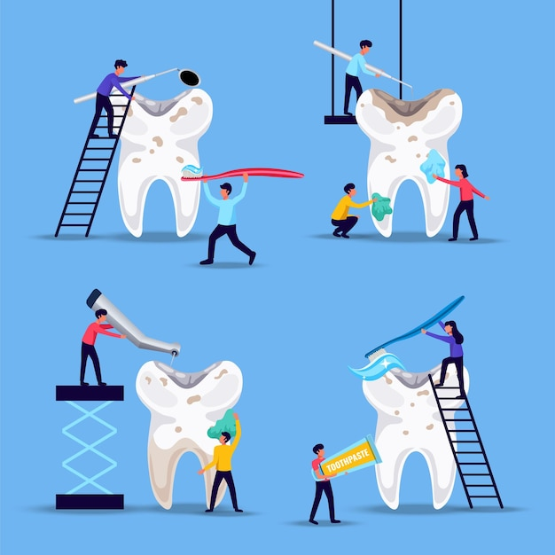 Tratamento de prevenção de problemas dentários 4 composições planas engraçadas com pessoas minúsculas escovando dentes enormes fundo azul
