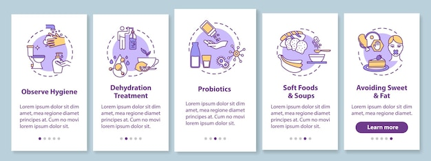 Tratamento de rotavírus onboarding tela da página do aplicativo móvel com conceitos. intoxicação alimentar e prevenção de infecções passo a passo 5 etapas instruções gráficas. modelo de vetor de interface do usuário com ilustrações coloridas rgb