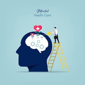 Tratamento de saúde mental. homem regando planta cerebral