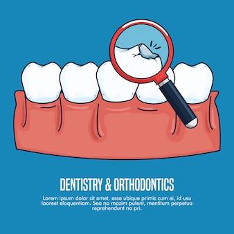 Tratamento de saúde odontologia com lupa