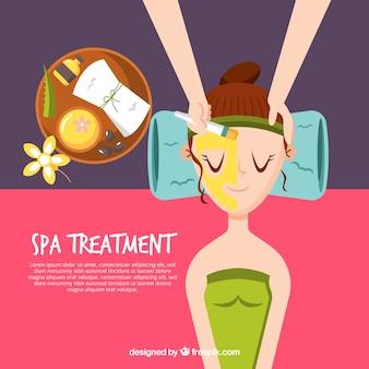 Tratamento de spa com mulher relaxada fundo